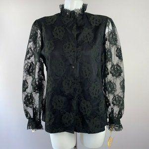 70s 80s Judy Bond Black Lace Gothic Blouse 14